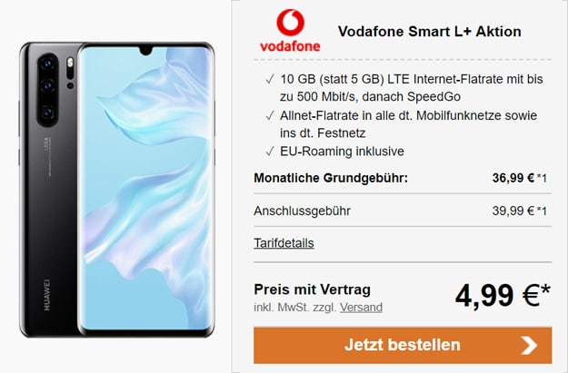 Huawei P30 Pro mit Vodafone Smart L Plus
