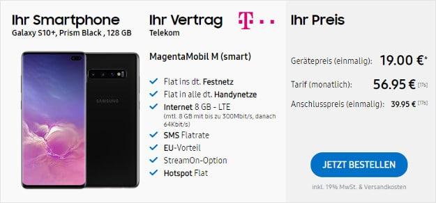 samsung galaxy s10 plus + telekom magenta mobil m