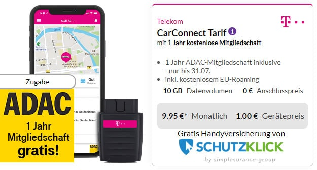 Telekom CarConnect + 12 Monate ADAC bei Preisboerse24
