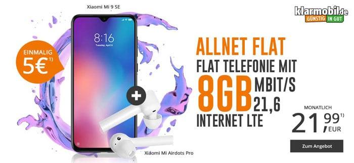 Xiaomi Mi 9 SE + Xiaomi Mi AirDots Pro + klarmobil Allnet-Flat 8 GB LTE (Vodafone-Netz) bei modeo