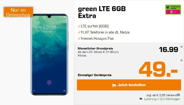 zte axon 10 pro + green lte telekom