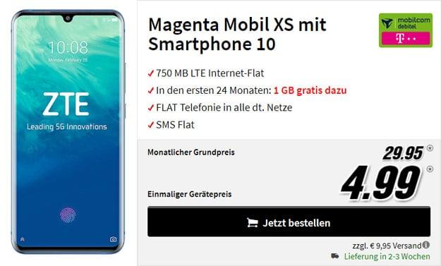 ZTE Axon 10 Pro + mobilcom-debitel Magenta Mobil XS (Telekom-Netz) bei MediaMarkt