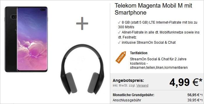 Galaxy S10 Plus + Telekom Magenta Mobil M + Kopfhörer