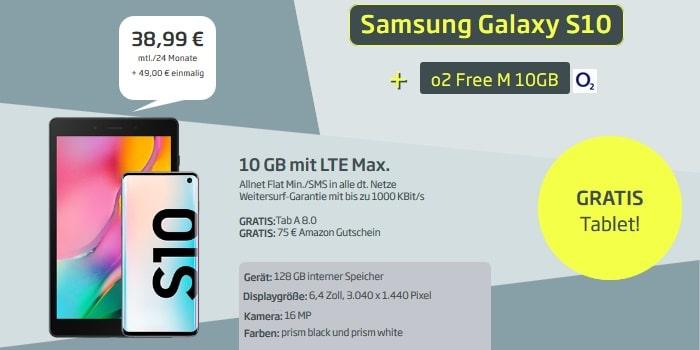 Samsung Galaxy S10 + Samsung Galaxy Tab A8 + Amazon Gutschein + o2 Free M bei Curved