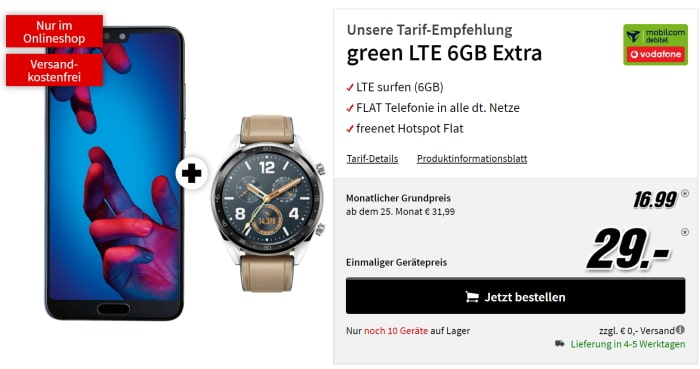 Huawei P20 mit Watch GT zum green LTE Vodafone bei Mediamarkt