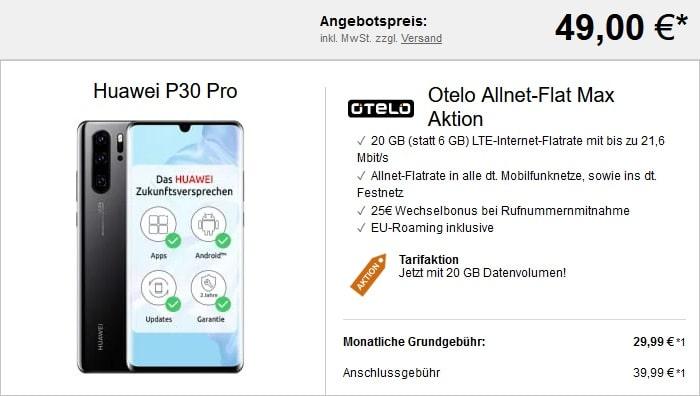 Huawei P30 Pro + otelo Allnet-Flat Max