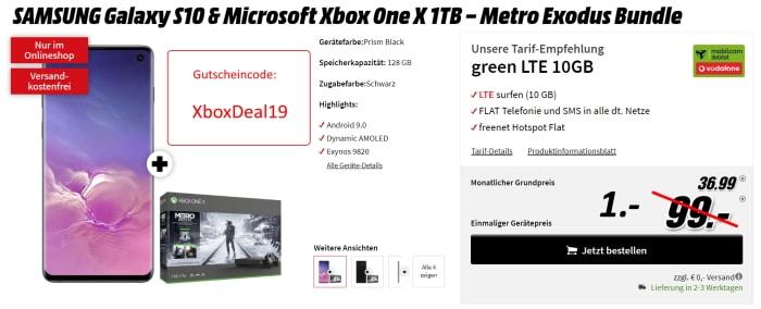 Samsung Galaxy S10 mit gratis Xbox One X Metro Exodus Bundle und mobilcom-debitel green LTE 10 GB Vodafone-Netz für nur 1 € (Gutscheincode)