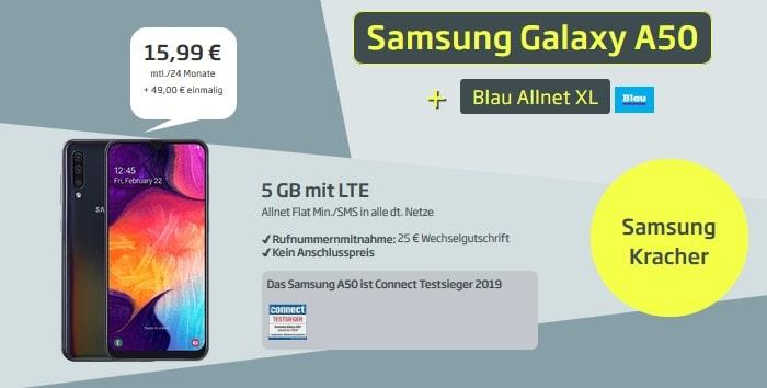 Samsung Galaxy A50 + Blau Allnet XL 49 Euro