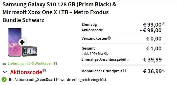 Samsung Galaxy S10 + green LTE + XboxBundle 1 Euro
