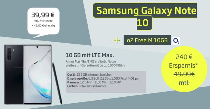 Samsung Note 10 mit o2 Free M bei Curved