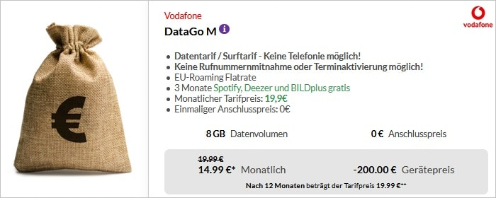 Vodafone DataGo M 200 Cashback neu