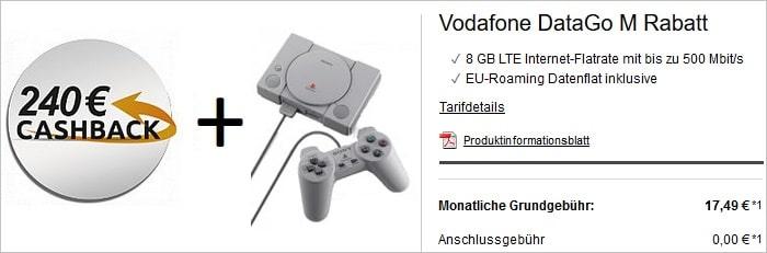 Vodafone DataGo M mit 240 Euro Cashback und PS Classic