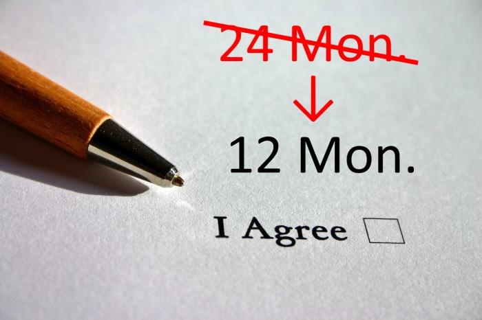 Vertragslaufzeit 12 statt 24 Mon.