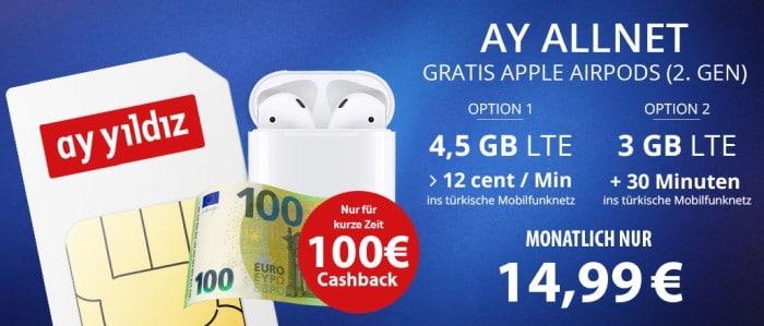 Ay Yildiz Ay Allnet Flat (SIM-only) + Apple AirPods 2 (2019) + 100 € Cashback bei FLYmobile