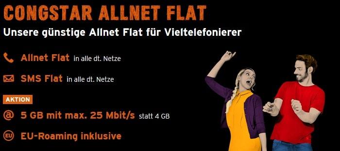 congstar Allnet Flat 5 GB statt 4 GB Aktion