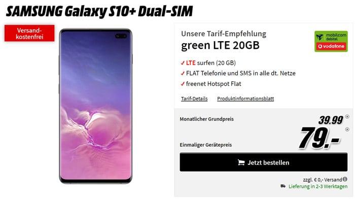 Galaxy S10 Plus + green LTE Vodafone