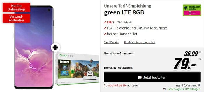 Samsung Galaxy S10 + Xbox One S Fortnite-Bundle + mobilcom-debitel green LTE (Telekom-Netz) bei MediaMarkt