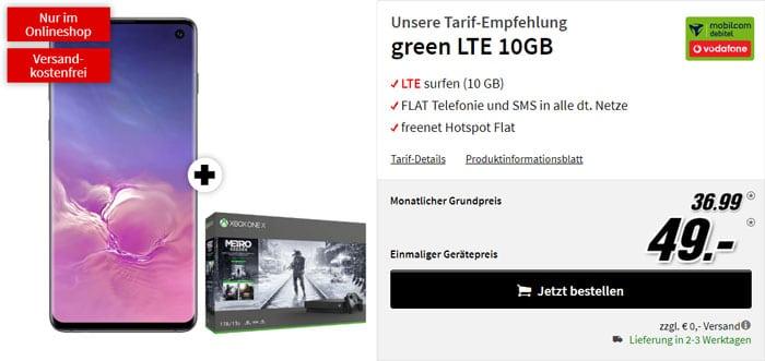 Samsung Galaxy S10 + Xbox One X Metro-Exodus-Bundle + mobilcom-debitel green LTE (Vodafone-Netz) bei MediaMarkt
