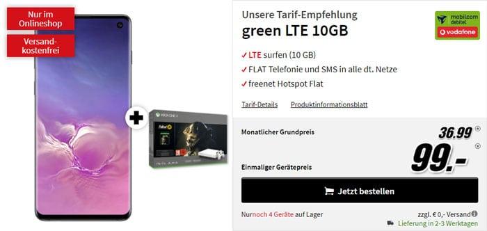 Samsung Galaxy S10 + Xbox One X (1TB) Fallout-76-Bundle + mobilcom-debitel green LTE (Vodafone-Netz) bei MediaMarkt