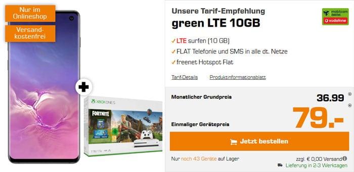 Samsung Galaxy S10 + Xbox One S Fortnite Bundle + mobilcom-debitel green LTE (Vodafone-Netz) bei Saturn