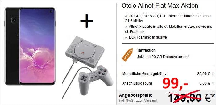 Samsung Galaxy S10 + otelo Allnet-Flat Max Speed + Sony Playstation Classic Mini bei LogiTel
