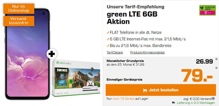 Samsung Galaxy S10e + Xbox One S Fortnite-Bundle + mobilcom-debitel green LTE (Telekom-Netz) bei Saturn
