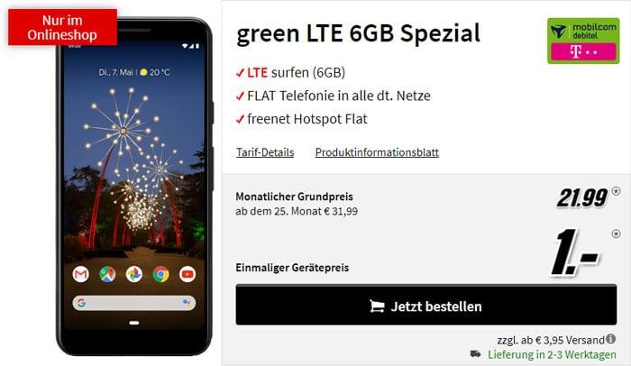 Google Pixel 3a + mobilcom-debitel green LTE (Telekom-Netz) bei MediaMarkt