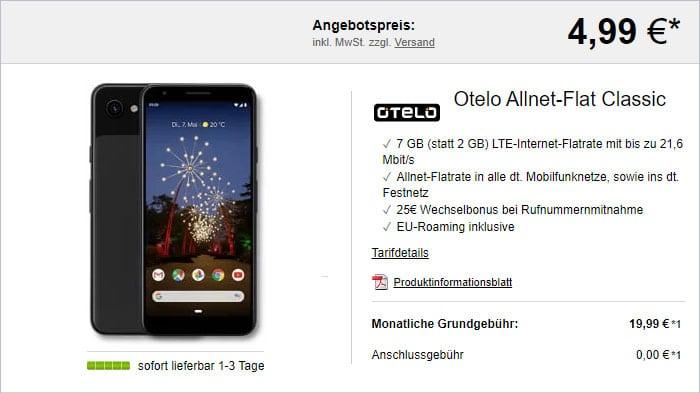 Google Pixel 3a + otelo Allnet-Flat Classic bei LogiTel