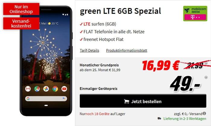 Google Pixel 3a XL + mobilcom-debitel green LTE (Telekom-Netz) bei MediaMarkt