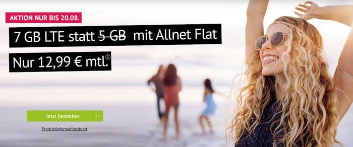 handyvertrag.de Allnet-Flat mit 7 GB LTE Datenvolumen mit 12,99 € Grundgebühr