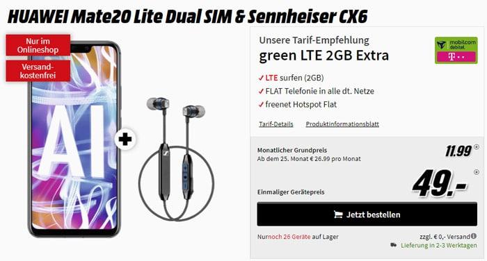 Huawei Mate 20 lite mit Allnet-Flat und 2 GB LTE im Telekom-Netz - green LTE