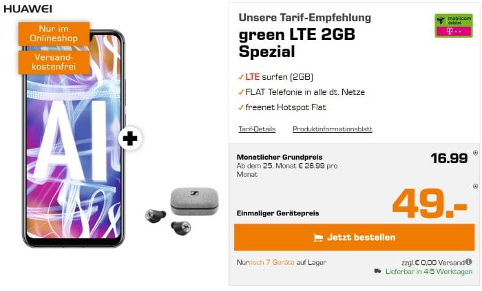 Huawei Mate 20 lite mit md green LTE 2 GB (Telekom-Netz) für effektiv 1,28 € pro Monat
