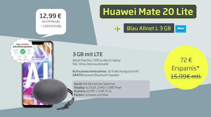 Huawei Mate 20 lite mit Blau Allnet L für 12,99 € mtl.