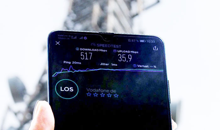 Huawei Mate 20X 5G Test Netztest Vodafone 5G