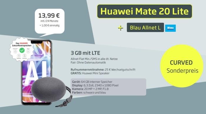 Huawei Mate 20 lite mit Blau Allnet L und gratis Soundstone