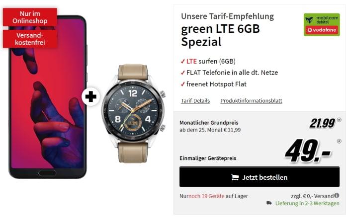 Huawei P20 Pro mit green LTE Vodafone 6 GB für 21,99 € mtl.
