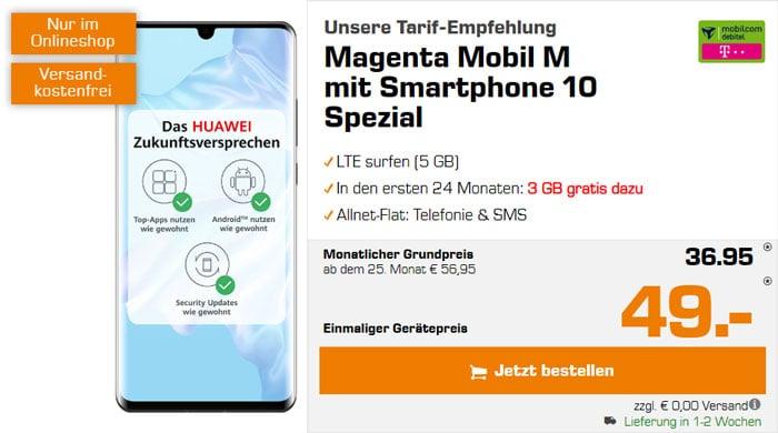 Huawei P30 Pro + mobilcom-debitel Magenta Mobil M (Telekom-Netz) bei Saturn