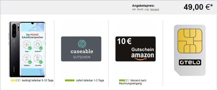 Huawei P30 Pro + otelo Allnet-Flat Max + 25 € Caseable- & 10 € Amazon-Gutschein bei LogiTel