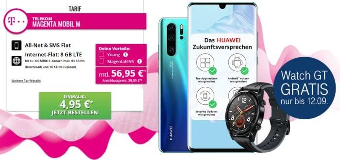Huawei P30 Pro + Huawei Watch GT Sport + Huawei FreeBuds lite + Huawei Fotodrucker CV80 + Telekom Magenta Mobil M bei Tophandy