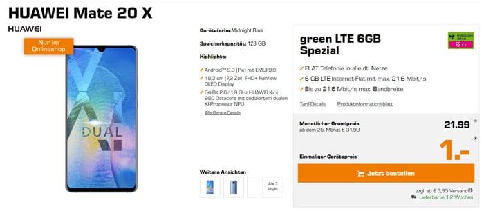 Huawei Mate 20X mit Allnet-Flat und 6 GB LTE im besten Telekom-Netz