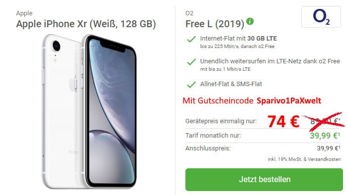 Apple iPhone Xr + o2 Free L bei DeinHandy