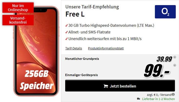 Apple iPhone Xr 256GB + o2 Free L bei MediaMarkt
