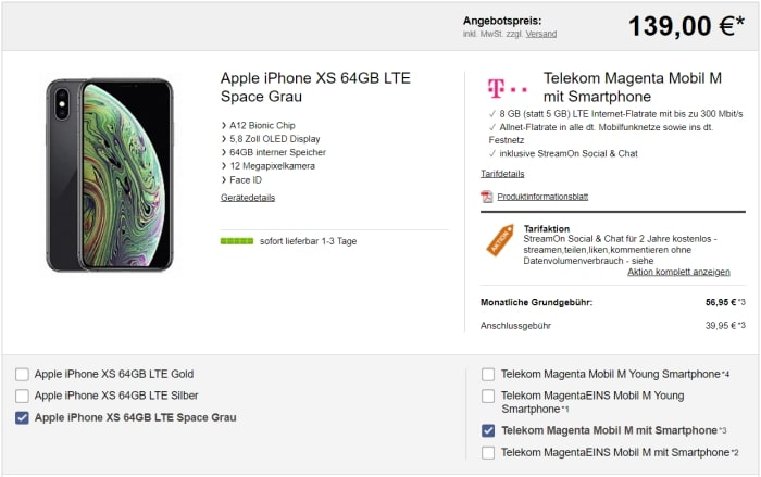 Apple iPhone Xs mit Telekom Magenta Mobil M für 139 € Zuzahlung
