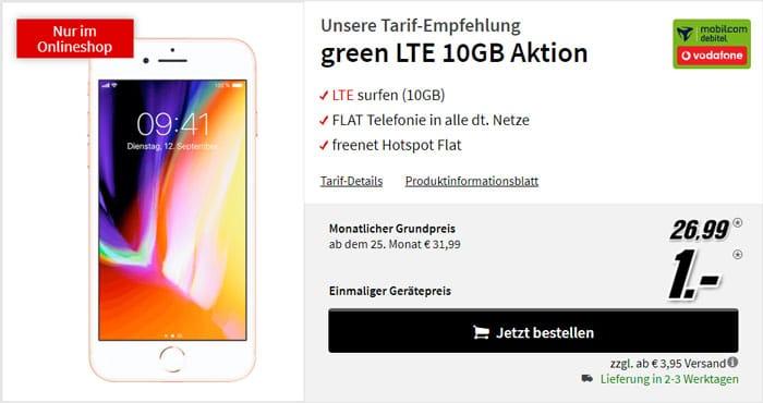 iPhone 8 + mobilcom-debitel green LTE (Vodafone-Netz) bei MediaMarkt