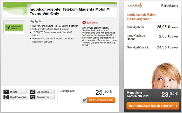 Smartphone-Vertrag md MagentaMobil M (Young)