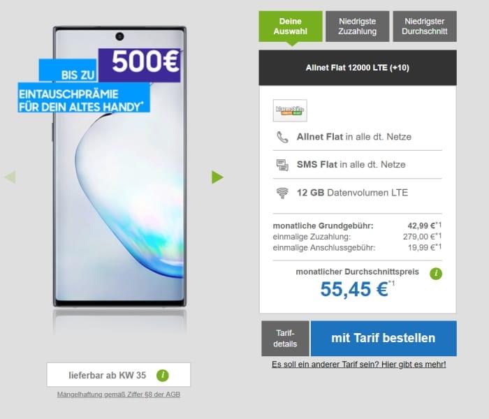 Note 10 klarmobil Allnet Flat 12000 LTE Telekom