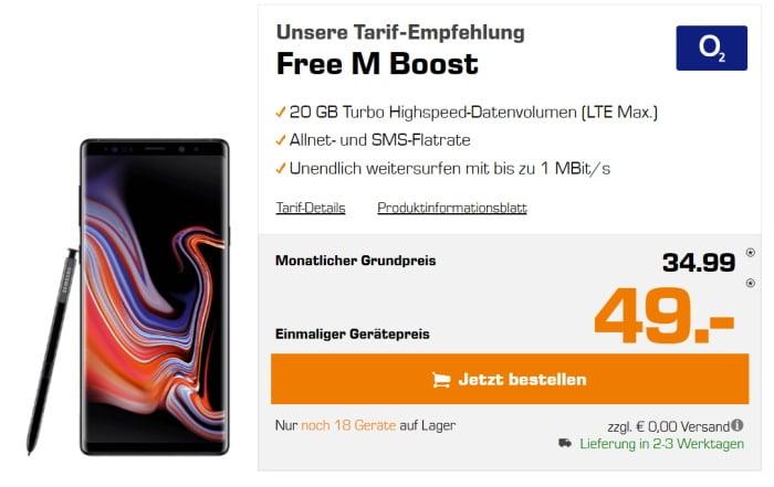 Samsung Galaxy Note 9 + o2 Free M Boost