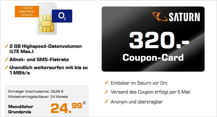 o2 Free S Boost mit Saturn Coupon 320 Euro