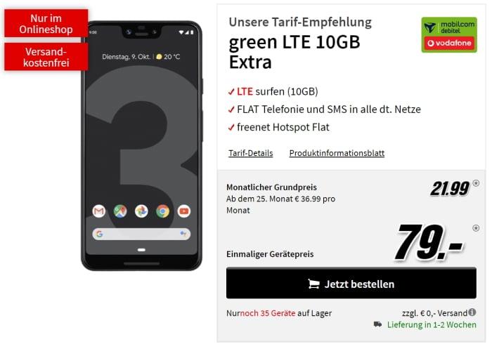 Pixel 3 XL + md green LTE Vodafone 10 GB (MediaMarkt)