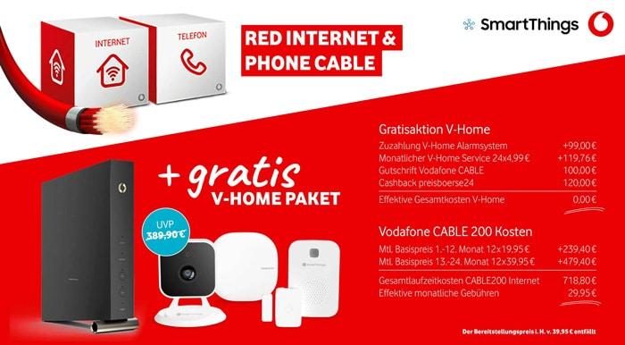 Vodafone Red Internet & Phone Cable mit gratis Vodafone V-Home-Paket: Für wen lohnt sich das Angebot?